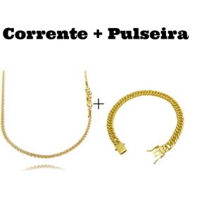 kit Corrente Cordão Baiano Diamantado 2mm 70cm 9,5g (Fecho Canhão) + Pulseira Double Grumet 7,5mm 17g (Fecho Gaveta Duplo)