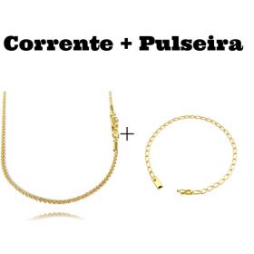 kit Corrente Cordão Baiano Diamantado 2mm 70cm 9,5g (Fecho Canhão) + Pulseira Grumet Aberta 3,5mm (Fecho Gaveta)