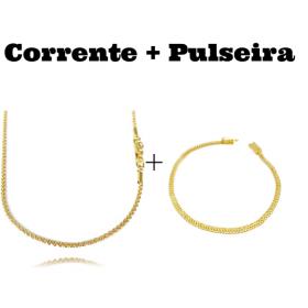 kit Corrente Cordão Baiano Diamantado 2mm 70cm 9,5g (Fecho Canhão) + Pulseira Grumet Union 3,3mm (Fecho Gaveta)