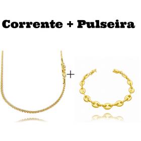 kit Corrente Cordão Baiano Diamantado 2mm 70cm 9,5g (Fecho Canhão) + Pulseira Gucci Link 8mm (9,4g) (Fecho Canhão)