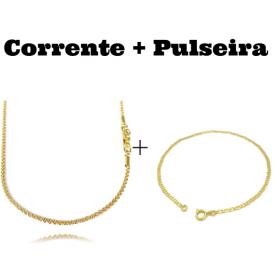 kit Corrente Cordão Baiano Diamantado 2mm 70cm 9,5g (Fecho Canhão) + Pulseira Piastrine 2mm (Fecho Tradicional)
