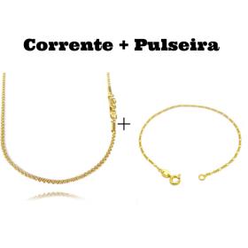 kit Corrente Cordão Baiano Diamantado 2mm 70cm 9,5g (Fecho Canhão) + Pulseira Piastrine 3,3mm (Fecho Gaveta)