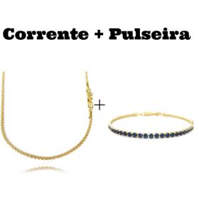 kit Corrente Cordão Baiano Diamantado 2mm 70cm 9,5g (Fecho Canhão) + Pulseira Riviera Pedras de Zircônia Azul 3mm 7g (Fecho Canhão)