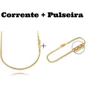 kit Corrente Cordão Baiano Diamantado 2mm 70cm 9,5g (Fecho Canhão) + Pulseira Veneziana 2,8mm 7g (Fecho Canhão)