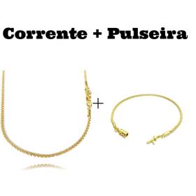kit Corrente Cordão Baiano Diamantado 2mm 70cm 9,5g (Fecho Canhão) + Pulseira Veneziana 2mm 6g (Fecho Canhão)