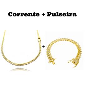 kit Corrente Double Grumet 3mm 60cm 10,5g (Fecho Gaveta) + Pulseira Cuban Link Cravejada em Zircônia 10mm (23,6g)