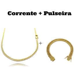 kit Corrente Double Grumet 3mm 60cm 10,5g (Fecho Gaveta) + Pulseira Double Grumet 10mm 24g (Fecho Gaveta)