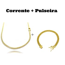 kit Corrente Double Grumet 3mm 60cm 10,5g (Fecho Gaveta) + Pulseira Double Grumet 7,5mm 17g (Fecho Gaveta Duplo)