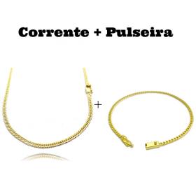 kit Corrente Double Grumet 3mm 60cm 10,5g (Fecho Gaveta) + Pulseira Grumet 2,8mm (Fecho Gaveta)