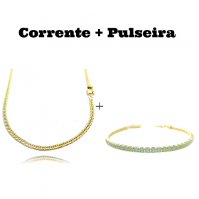 kit Corrente Double Grumet 3mm 60cm 10,5g (Fecho Gaveta) + Pulseira Riviera Pedras de Zircônia Verde 3mm 7g (Fecho Canhão)