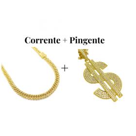 kit Corrente Double Grumet 7,5mm 60cm 47g (Fecho Gaveta Duplo) + Pingente Cifrão $ Cravejado em Zircônia (Dourado) 4,6cm X 2,9cm 9g