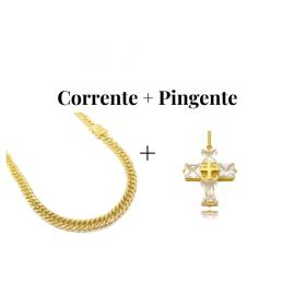 kit Corrente Double Grumet 7,5mm 60cm 47g (Fecho Gaveta Duplo) + Pingente Cruz Com Pedras Quadradas (8g) (3,3cm X 2,6cm)