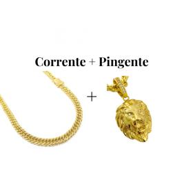 kit Corrente Double Grumet 7,5mm 60cm 47g (Fecho Gaveta Duplo) + Pingente Leão Maciço 3,0x2,2cm (17g) (Banho Ouro 24k)