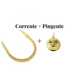 kit Corrente Double Grumet 7,5mm 60cm 47g (Fecho Gaveta Duplo) + Pingente Medusa 2,9cm X 2,9cm (12g)
