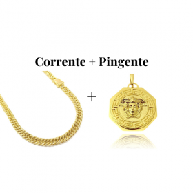 kit Corrente Double Grumet 7,5mm 60cm 47g (Fecho Gaveta Duplo) + Pingente Medusa Octa 6,5g 2,7cm x 2,7cm (Banho Ouro 24k)