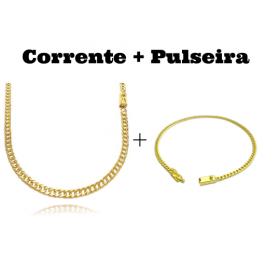 kit Corrente Double Grumet Diamantada 4mm 60cm 18g (Fecho Gaveta) + Pulseira Grumet 2,8mm (Fecho Gaveta)