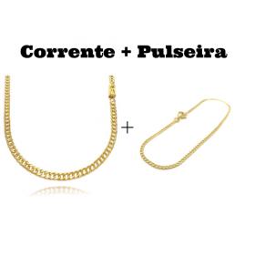 kit Corrente Double Grumet Diamantada 4mm 60cm 18g (Fecho Gaveta) + Pulseira Grumet 2mm (Fecho Tradicional)