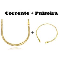 kit Corrente Double Grumet Diamantada 4mm 60cm 18g (Fecho Gaveta) + Pulseira Piastrine 3,3mm (Fecho Gaveta)