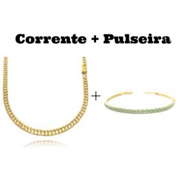 kit Corrente Double Grumet Diamantada 4mm 60cm 18g (Fecho Gaveta) + Pulseira Riviera Pedras de Zircônia Verde 3mm 7g (Fecho Canhão)