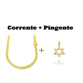 kit Corrente Double Grumet Diamantada 5,5mm 60cm 28g (Fecho Gaveta Dupla) (Banho Ouro 24K) + Pingente Estrela de Davi Cavejado em Zircônia (3,2cmX3,2cm) (Banho Ouro 24k)