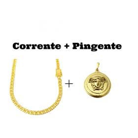 kit Corrente Double Grumet Diamantada 5,5mm 60cm 28g (Fecho Gaveta Dupla) (Banho Ouro 24K) + Pingente Medusa 2,9cm X 2,9cm (12g)