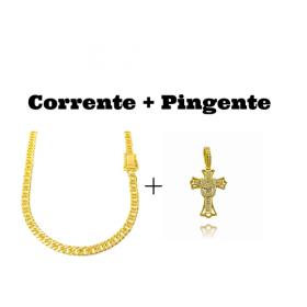 kit Corrente Double Grumet Diamantada 5,5mm 60cm 28g (Fecho Gaveta Dupla) + Pingente Crucifixo Cravejado (4,5cmX2,9cm) (7g)