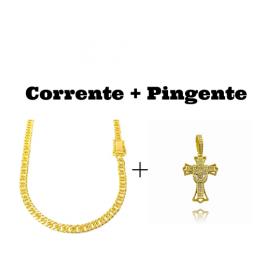 kit Corrente Double Grumet Diamantada 5,5mm 60cm 28g (Fecho Gaveta Dupla) + Pingente Crucifixo Cravejado (4,5cmX2,9cm) (7g) (Banho Ouro 24k)