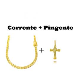kit Corrente Double Grumet Diamantada 5,5mm 60cm 28g (Fecho Gaveta Dupla) + Pingente Crucifixo Trançado Cravejado (4,5cmX3cm) (9,5g) (Banho Ouro 24k)