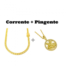 kit Corrente Double Grumet Diamantada 5,5mm 60cm 28g (Fecho Gaveta Dupla) + Pingente Medalha São Jorge Vazado Cravejado (4cmX3,6cm) (11g) (Banho Ouro 24k)