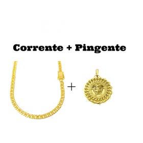 kit Corrente Double Grumet Diamantada 5,5mm 60cm 28g (Fecho Gaveta Dupla) + Pingente Medusa Sun 6,5g 2,7cm x 2,7cm (Banho Ouro 24k)