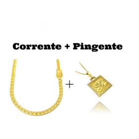 kit Corrente Double Grumet Diamantada 5,5mm 60cm 28g (Fecho Gaveta Dupla) + Pingente Placa Olho de Hórus Cravejado em Zircônia (2,8cmX2,4cm) (7,9g) (Banho Ouro 24k)