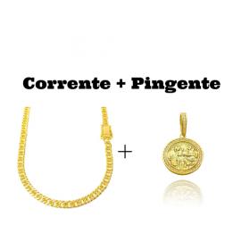 kit Corrente Double Grumet Diamantada 5,5mm 60cm 28g (Fecho Gaveta Dupla) + Pingente Santa Ceia Cravejado em Zircônia (3,2X2,8cm) (7,8g)