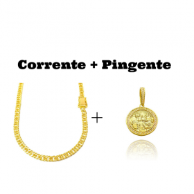 kit Corrente Double Grumet Diamantada 5,5mm 60cm 28g (Fecho Gaveta Dupla) + Pingente Santa Ceia Cravejado em Zircônia (3,2X2,8cm) (7,8g) (Banho Ouro 24k)