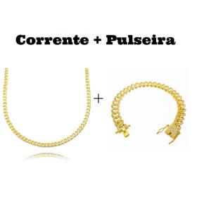 kit Corrente Grumet 2,8mm 60cm 11g (Fecho Gaveta) + Pulseira Cuban Link Cravejada em Zircônia 10mm (23,6g)