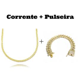 kit Corrente Grumet 2,8mm 60cm 11g (Fecho Gaveta) + Pulseira Cuban Link Retangular Cravejada em Zircônia 14mm (32,1g)