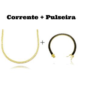 kit Corrente Grumet 2,8mm 60cm 11g (Fecho Gaveta) + Pulseira Riviera Baguetes 5mm (Pedras de Zircônia Preta) (Fecho Gaveta Duplo)