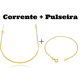 kit Corrente Grumet 2mm 60cm (Fecho Tradicional) + Pulseira 3 por 1 1,6mm (Fecho Tradicional)