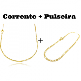 kit Corrente Grumet 2mm 60cm (Fecho Tradicional) + Pulseira 3 por 1 2mm (Fecho Tradicional)