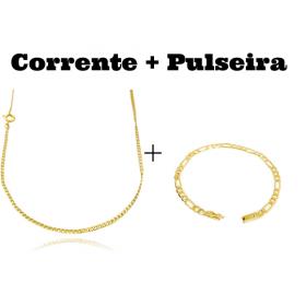 kit Corrente Grumet 2mm 60cm (Fecho Tradicional) + Pulseira 3 por 1 4,5mm (Fecho Gaveta)