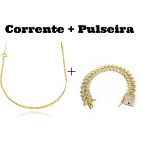 kit Corrente Grumet 2mm 60cm (Fecho Tradicional) + Pulseira Cuban Link Retangular Cravejada em Zircônia 14mm (32,1g)