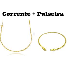 kit Corrente Grumet 2mm 60cm (Fecho Tradicional) + Pulseira Grumet 2,8mm (Fecho Gaveta)