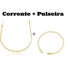 kit Corrente Grumet 2mm 60cm (Fecho Tradicional) + Pulseira Grumet Aberta 3,5mm (Fecho Gaveta)