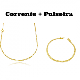 kit Corrente Grumet 2mm 60cm (Fecho Tradicional) + Pulseira Grumet Union 3,3mm (Fecho Gaveta)