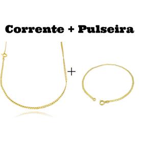 kit Corrente Grumet 2mm 60cm (Fecho Tradicional) + Pulseira Piastrine 2mm (Fecho Tradicional)