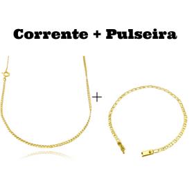 kit Corrente Grumet 2mm 60cm (Fecho Tradicional) + Pulseira Piastrine 3,3mm (Fecho Gaveta)