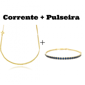 kit Corrente Grumet 2mm 60cm (Fecho Tradicional) + Pulseira Riviera Pedras de Zircônia Azul 3mm 7g (Fecho Canhão)