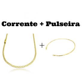 kit Corrente Grumet 3,2mm 60cm 10g (Fecho Gaveta) + Pulseira Cartier Cubinho 3 por 3 1,5mm (Fecho Tradicional)