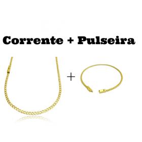 kit Corrente Grumet 3,2mm 60cm 10g (Fecho Gaveta) + Pulseira Grumet 2,8mm (Fecho Gaveta)