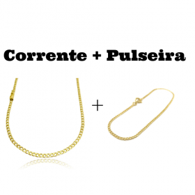 kit Corrente Grumet 3,2mm 60cm 10g (Fecho Gaveta) + Pulseira Grumet 2mm (Fecho Tradicional)