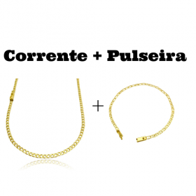 kit Corrente Grumet 3,2mm 60cm 10g (Fecho Gaveta) + Pulseira Piastrine 3,3mm (Fecho Gaveta)